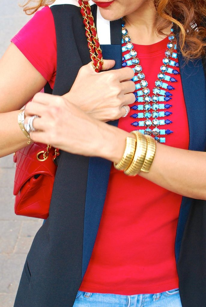 Deba Vest by elevenses chic vest sleeveless blazer casual chic look chanel vintage red 2.55 bag distressed denim givenchy shark tooth sandals houston fashion blogger petite blogger curly hair itsbanana necklace red and blue outfit