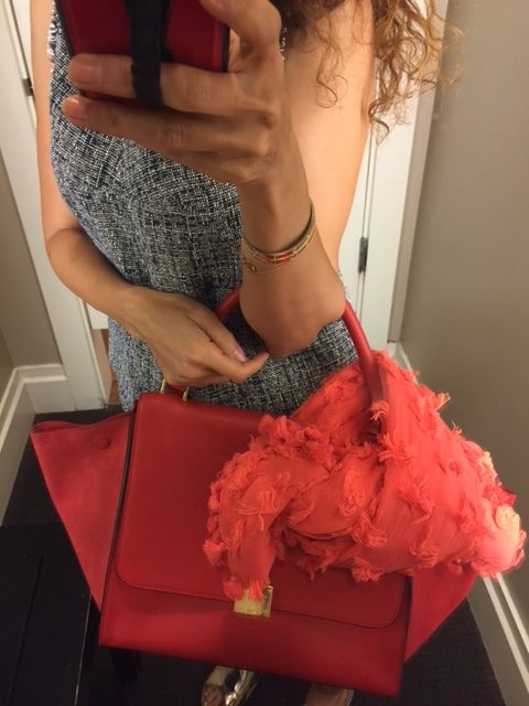chic shorts summer outfit fashion trends for summer resort style rosemary beach style monochromatic look gold slides celine bag red celine bag trapeze celine