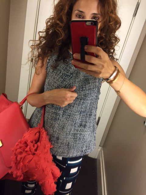 Tweed top red celine bag gold slides pattern on pattern houston fashion blogger cool print printed outfit