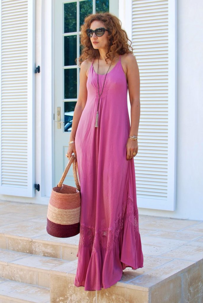 pink maxi dress beach vacation what to wear to beach summer outfits girly feminine style bohemian chic