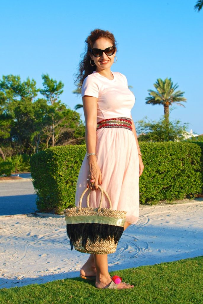 pink ballerina skirt tulle skirt SJP tulle moment casual chic resort ootd ideas what to wear to rosemary beach lays beach