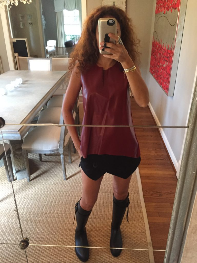 black asymmetrical shorts red faux leather top black burberry rainbows curly hair petite fashion blogger rain outfit what to wear on a rainy day