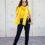 Five Ways to Wear a Scarf:  Blue Joggers & Mustard