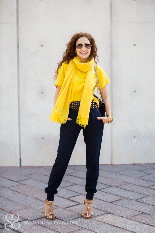 blue joggers mustard scarf how to style a scarf four ways studded shoes chanel reissue metallic bag