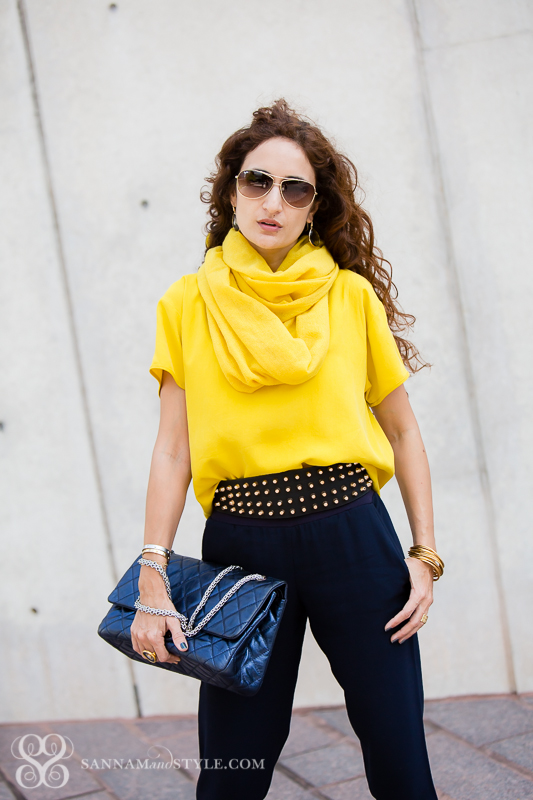 mustard and blue petite blogger curly hair desk blogger pakistani girl how to wear scarf in warm weather chanel bag