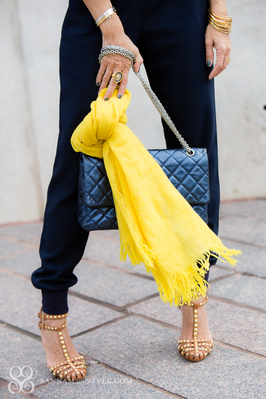 petite blogger what to do with a scarf in warm weather chanel bag zara studded shoes
