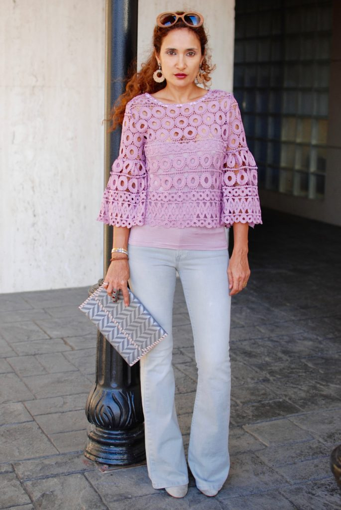 style mafia kiana top pink and gray outfit misela clutch lace top fall trends