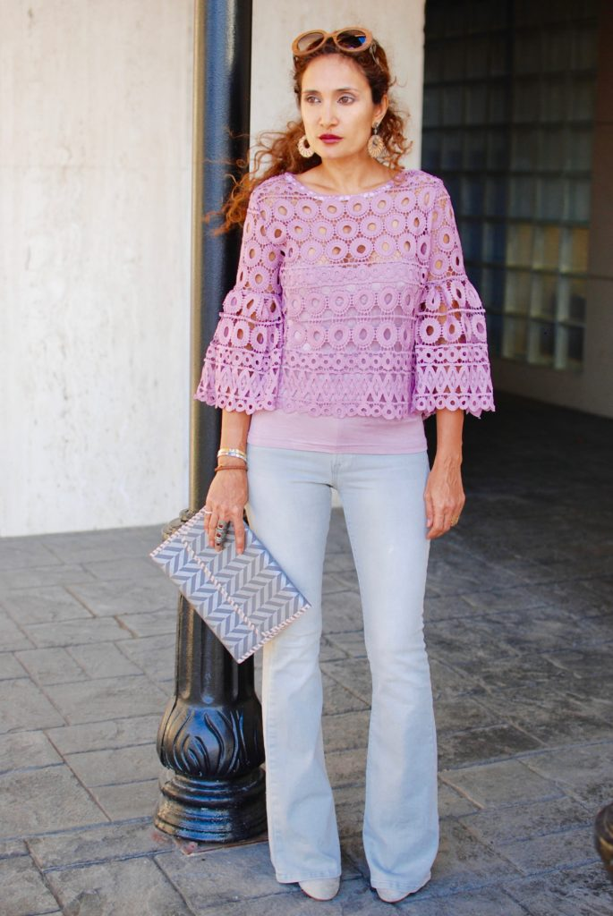 lace trend for fall gray frame flare jeans casual date outfit pink and gray