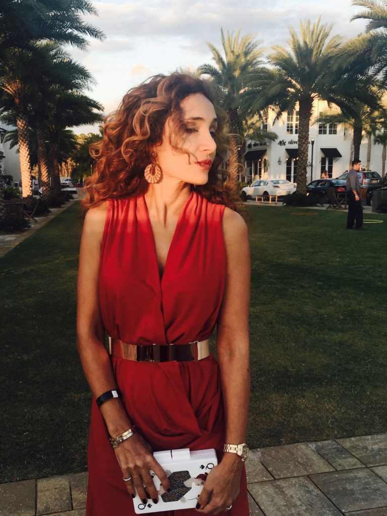 mirrored belt, aquazzura lover shoes, red draped top, curly hair, petite blogger, monochromatic look, red on red