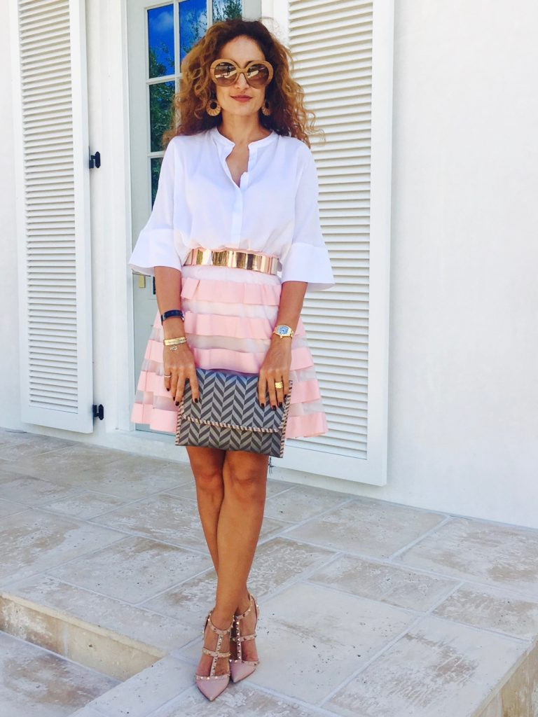 misela clutch valentino nude rockstud pumps mirrored belt white button down outfit prada baroque sunglasses flirty feminine style petite blogger curls