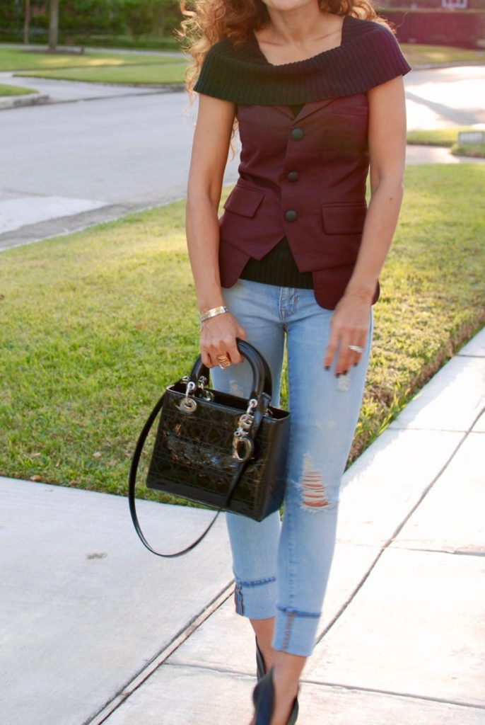bustier petite blogger how to wear fall trends for petites curly hair distressed denim houston blogger laver bustier