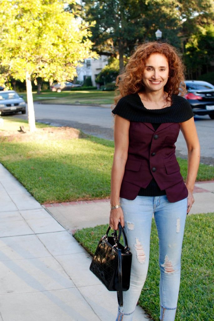 bustier petite blogger how to wear fall trends for petites curly hair distressed denim houston blogger lady dior bag