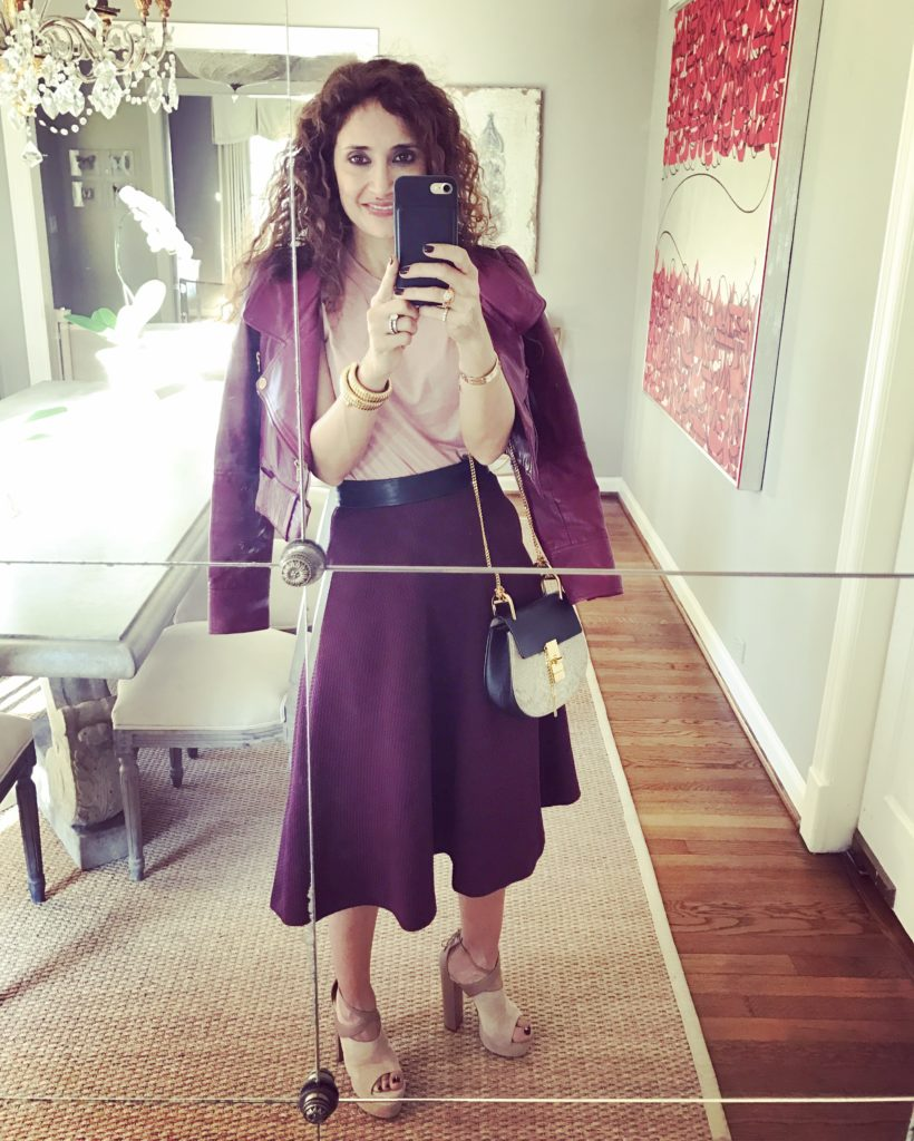platforms current shoe trends burberry crop jacket pink and burgundy how to combine pink with maroon color drew bag houston fashion blogger midi skirt