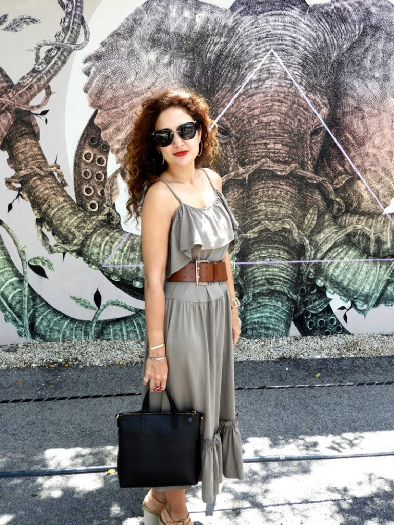 midi ruffle summer dress maxwell mini transport bag madewell circle earrings miu miu black sunnies outfit for sightseeing vacation travel petite blogger