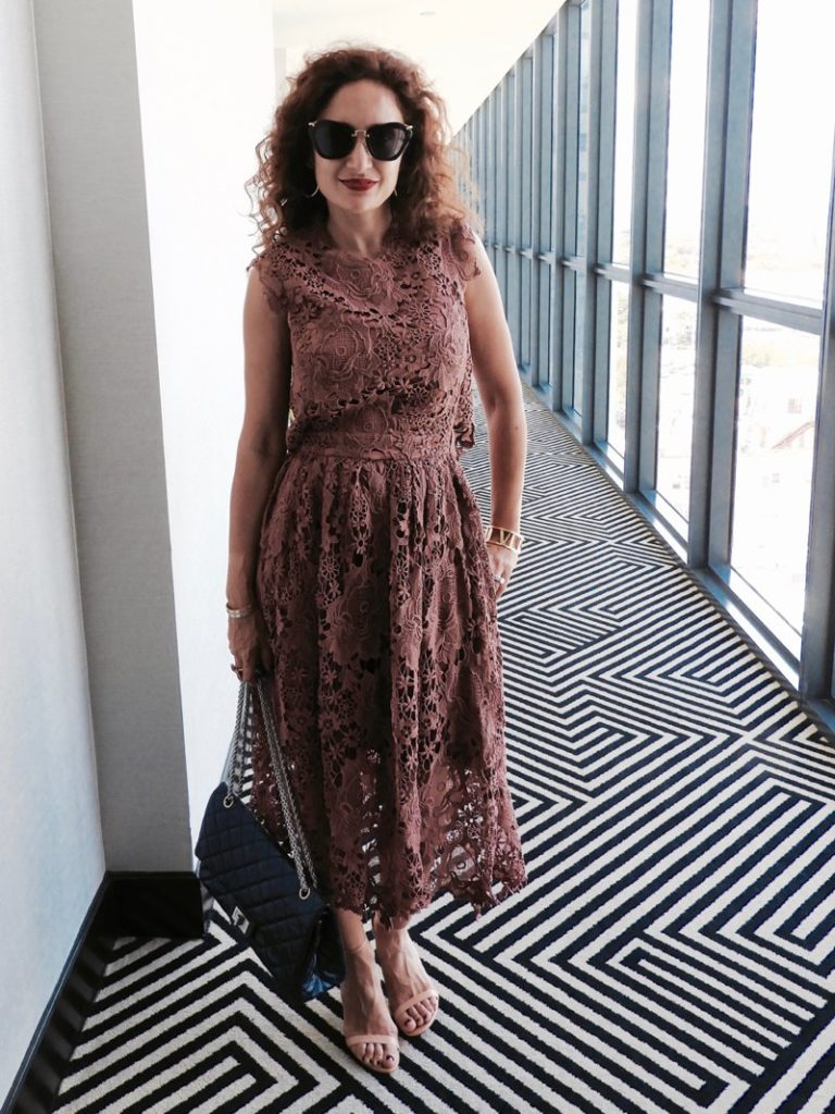 lace midi dress flirty style petite blogger chanel bag stuart weitzman nudist heels lace trend pink dress houston blogger