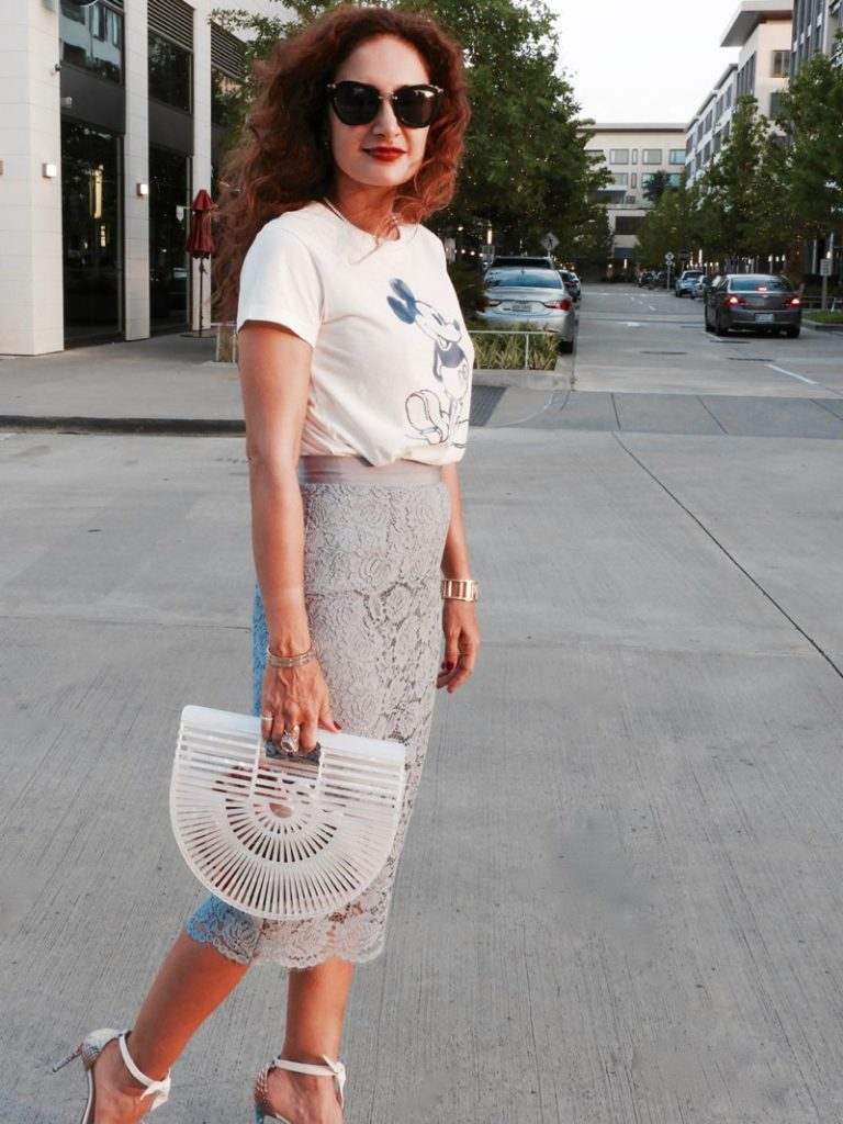 date night outfit cult gaia ark bag mother of pearl white clarita sandals hm lace skirt blue gray lace skirt petite blogger