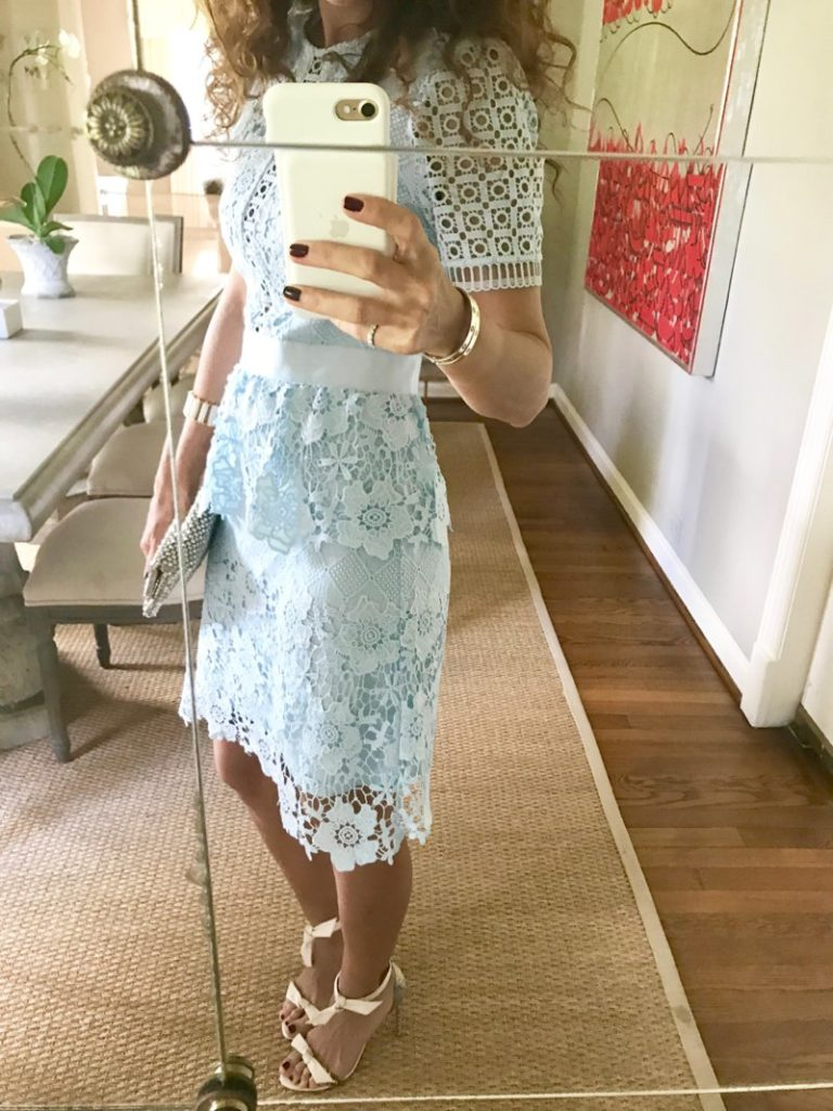 blue lace dress dress to wear to a luncheon baby shower dress petite blogger curls nordstrom sale what to wear to a baby shower