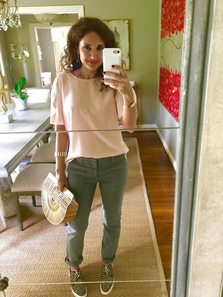 pink and green outfit petite blogger cult gaia ark bag raffia shoes bamboo bag petite blogger