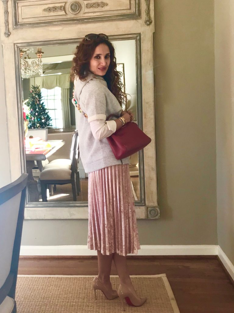 petite blogger velvet midi skirt target style fend studded trap pink and gray houston blogger curly hair fall style holiday party lunch outfit