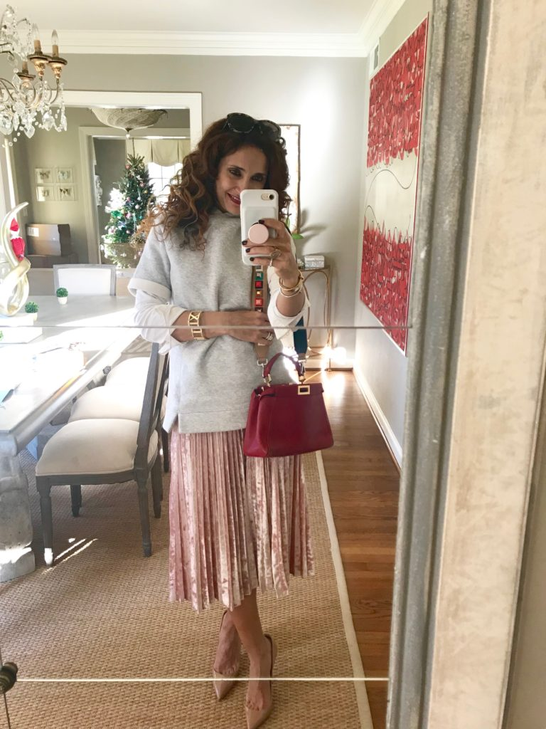 chic pink and grey outfit affordable style holiday party luxe for less fall trends houston blogger