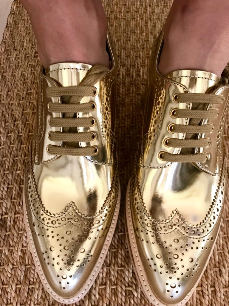 borrowed from the boys prada shoes gold shoes petite blogger fall trends
