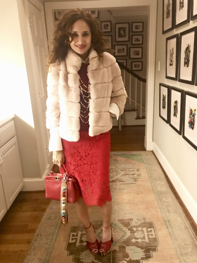 red and pink outfit satin shoes pink fur coat petite blogger fashion blogger valentines day outfit fendi peekaboo bag