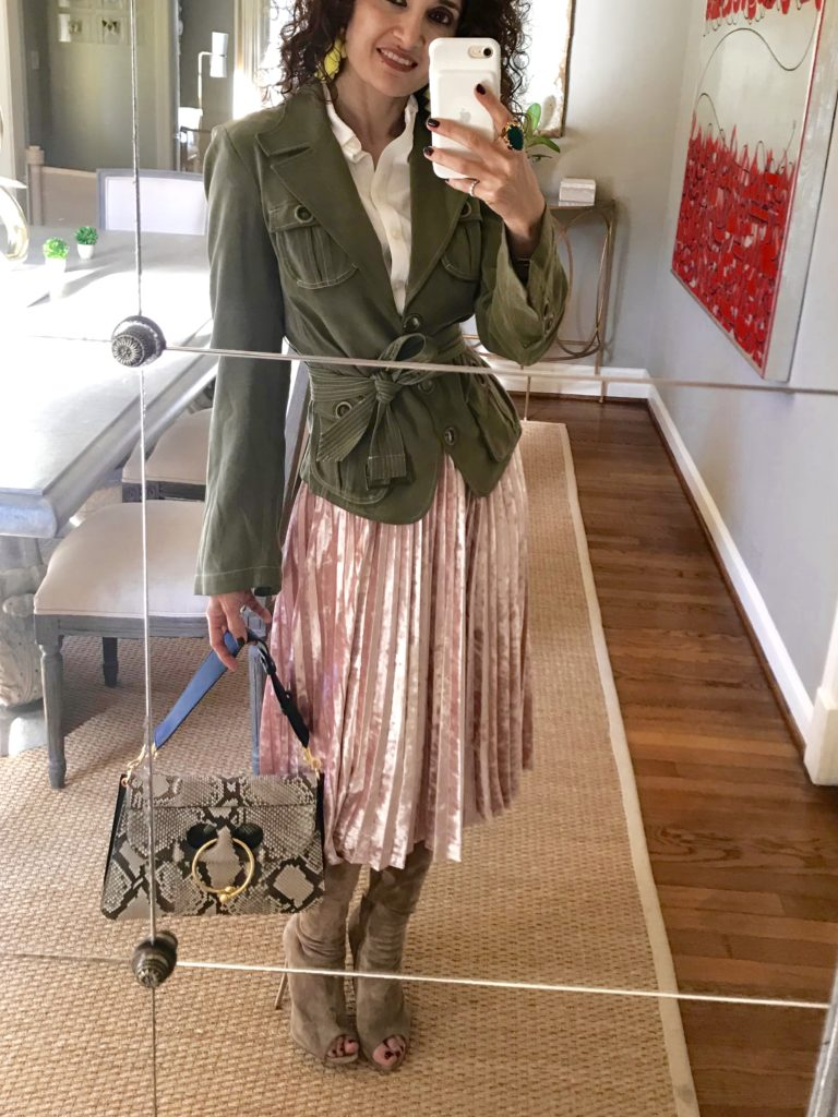 JW Anderson pierce bag target velvet skirt army green jacket pink and green outfit petite blogger curly hair houston blogger